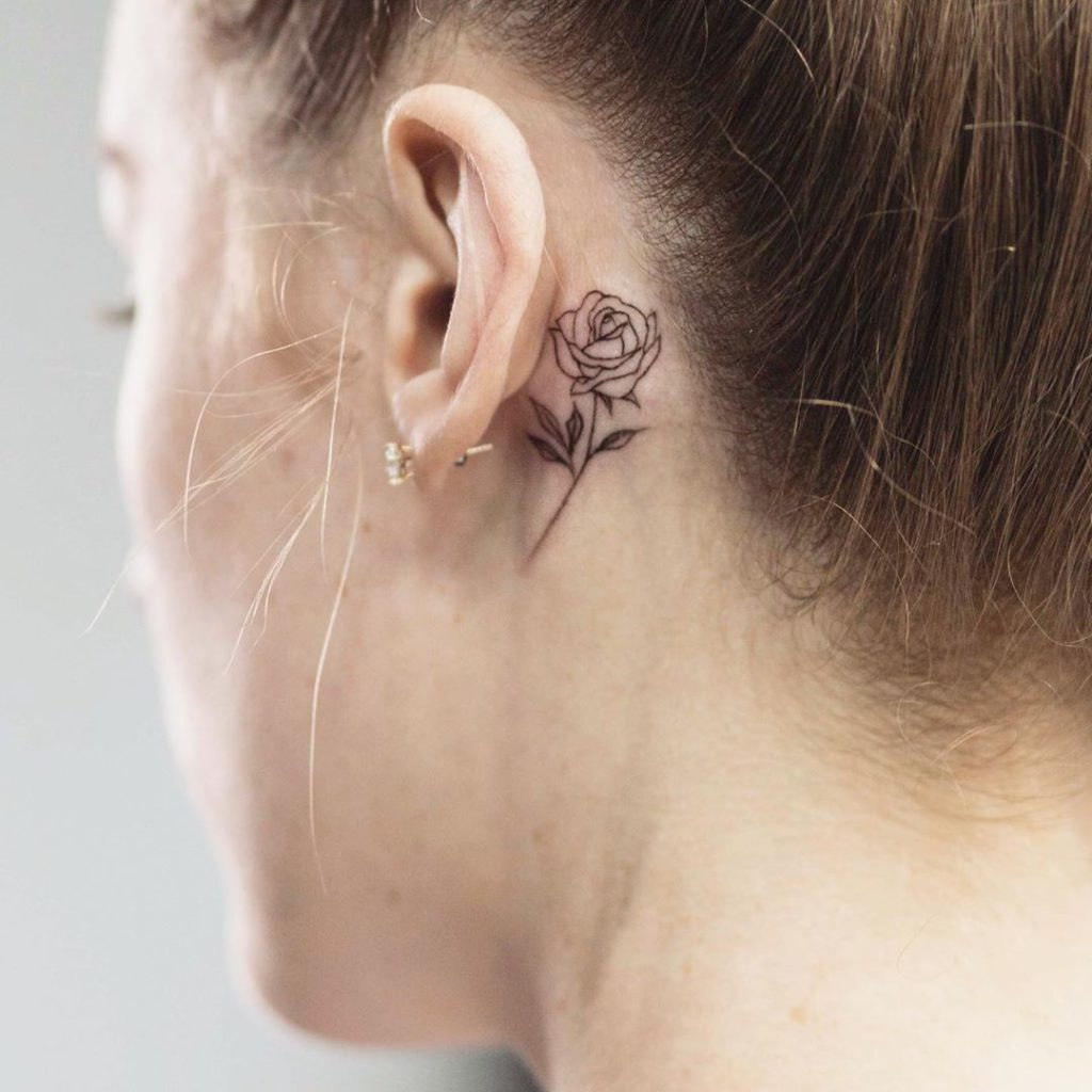 Flower tattoo on Ear (Behind) by Ami Dave