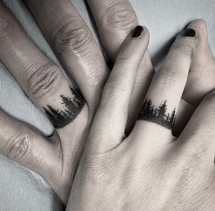 Forest Couple tattoo on Finger by Jesse Phillips