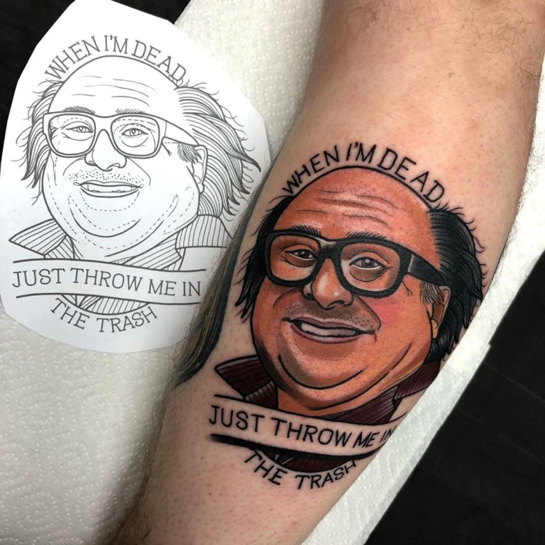Frank Reynolds Portrait tattoo on Calf by Gibbo