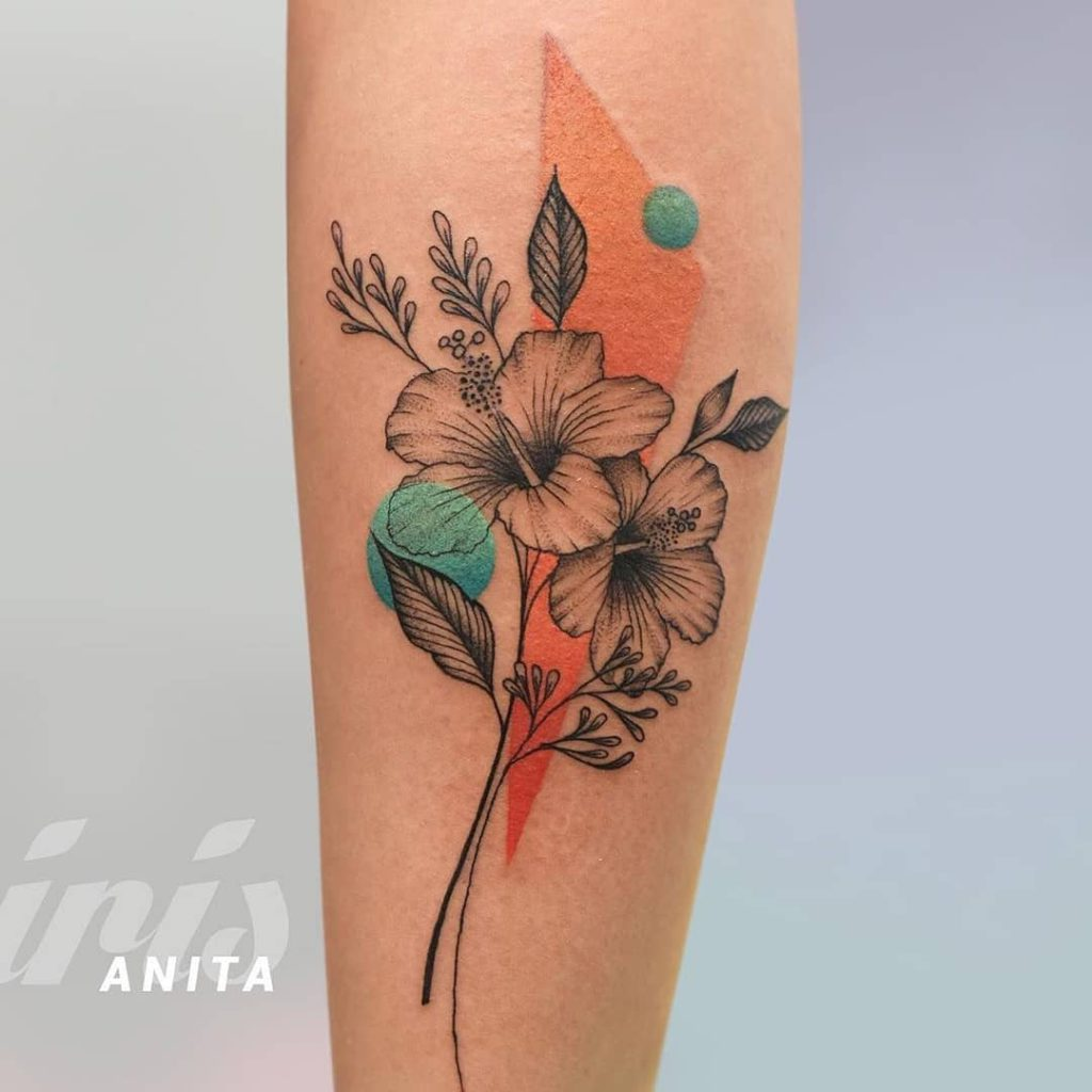 Hibiscus tattoo by Anitta D'Andrea
