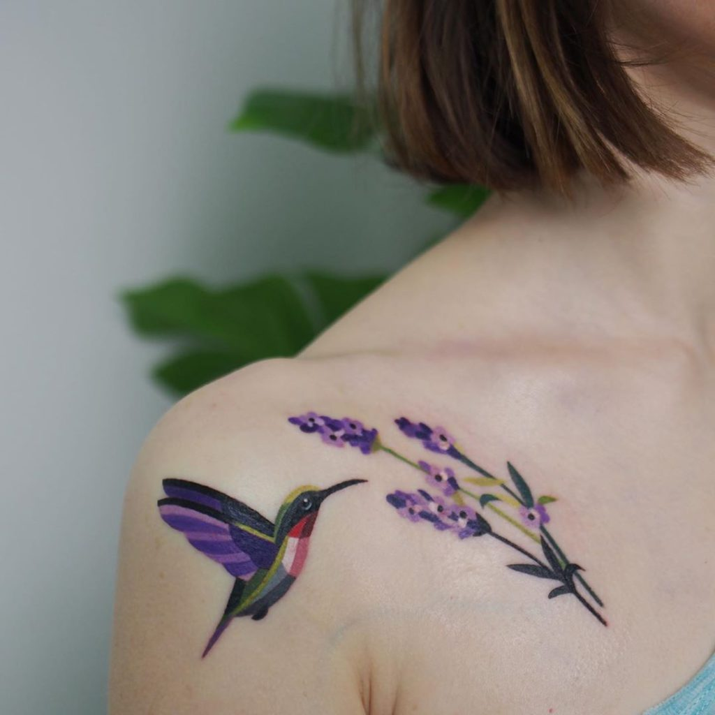 Lavender tattoo on Shoulder by Sasha Unisex