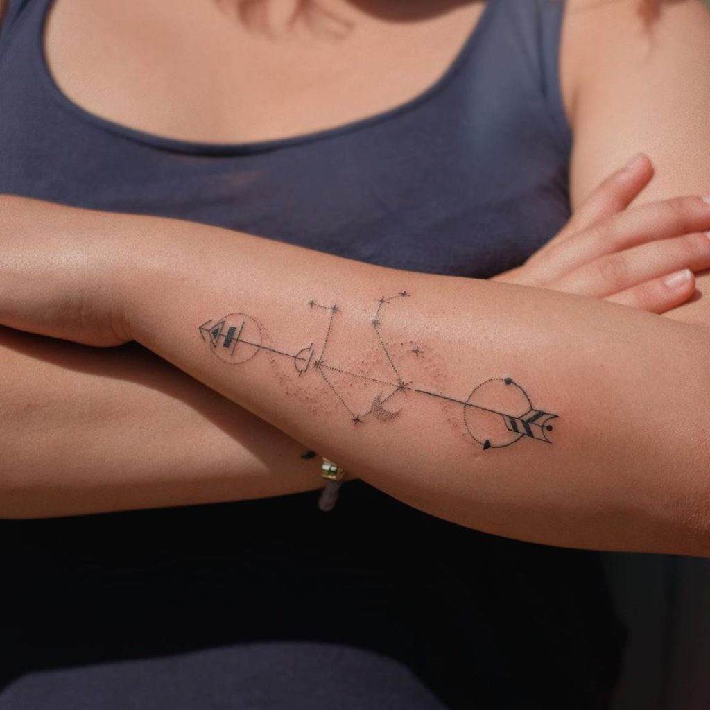 Libra tattoo on Forearm (back) - Fine Line style by Alina