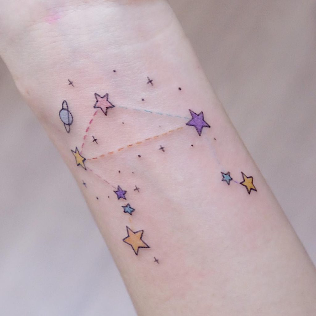 Libra Constellation tattoo  - Color style by Christine So