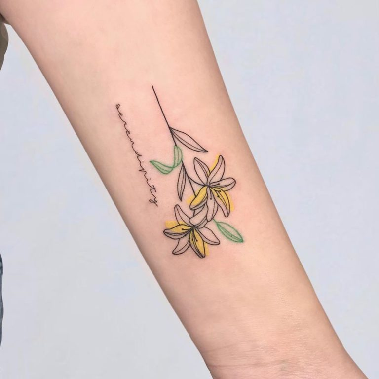 Lily tattoo on Forearm (inner) by som