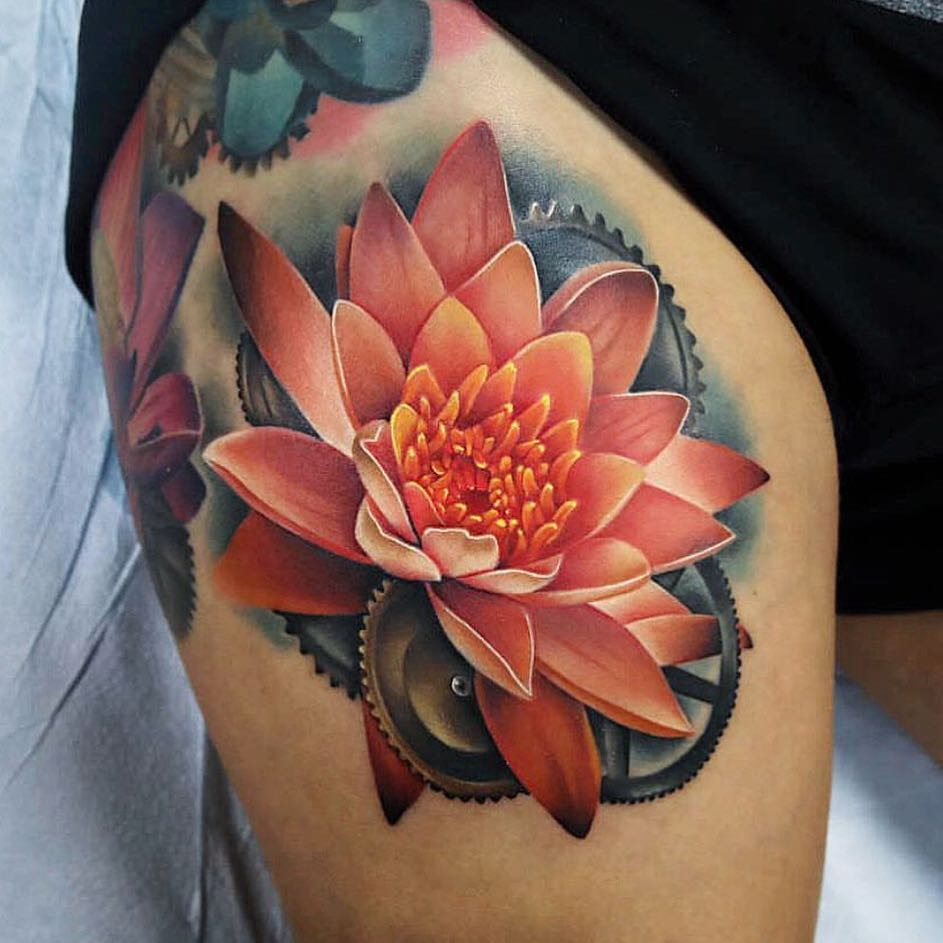 Lotus Flower tattoo on Thigh by Andrés Acosta