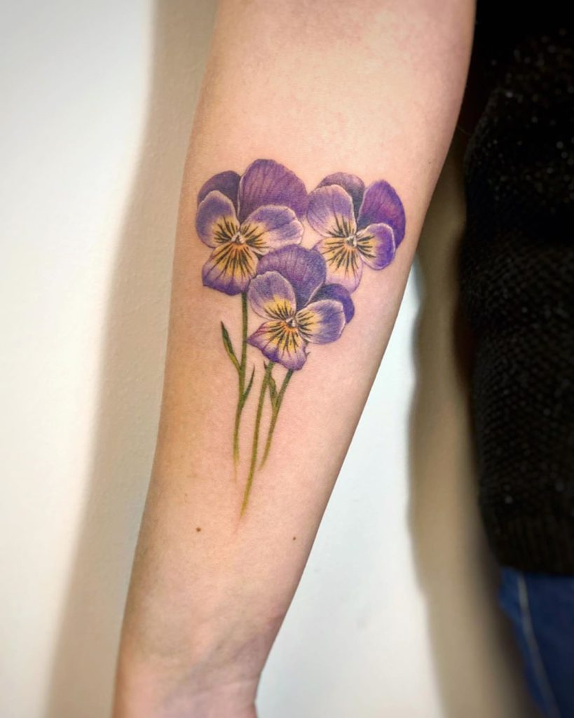 Pansy tattoo on Forearm (inner) by Noemesys