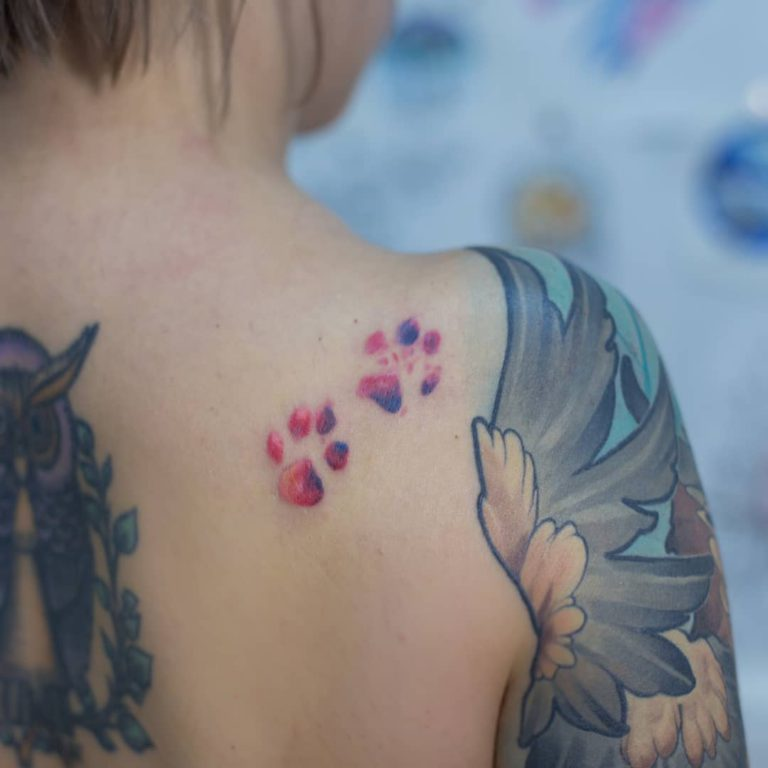 Cat paw tattoo on Shoulder (blade) by Ляна Sunlight