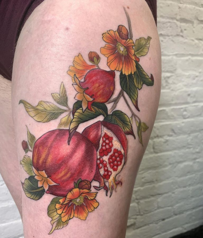 Pomegranate tattoo on Thigh (side) - Illustrative style by leslie karin