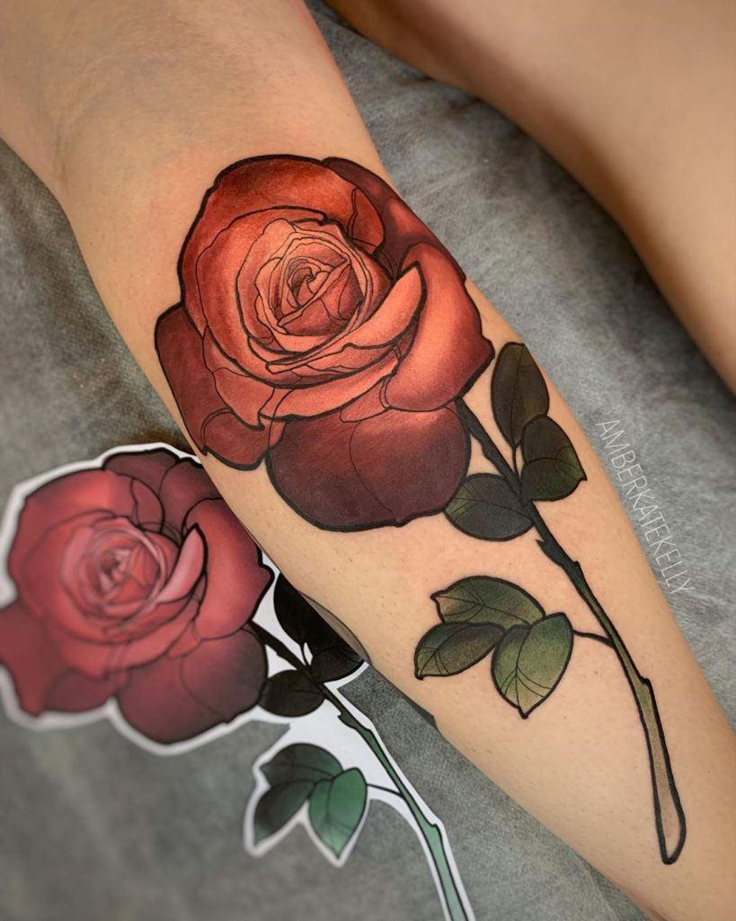 Rose tattoo on Calf by Amber