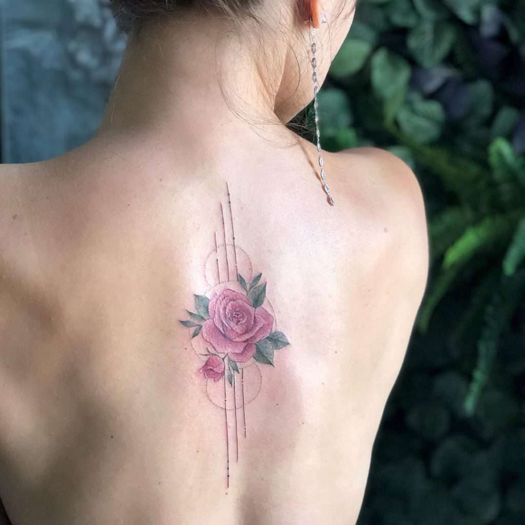 Rose tattoo on Back by Sasha Vorobiova