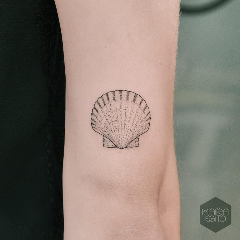 Scallop tattoo on Arm by Maíra Egito
