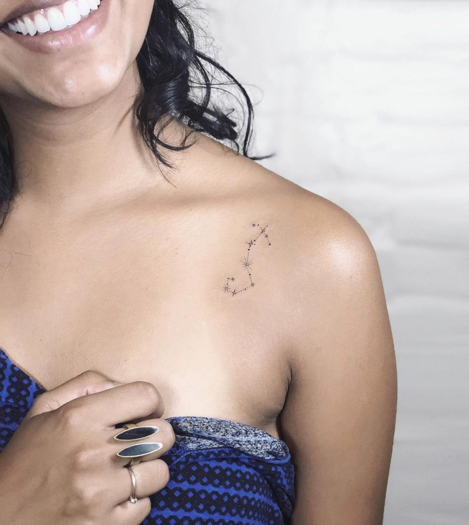 Scorpio Constellation Rose  tattoo on Shoulder - Fine Line style by Laura Martinez