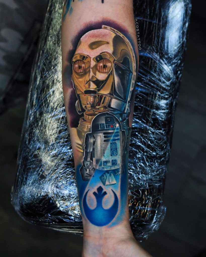 Star Wars tattoo on Forearm (inner) by Andrés Acosta