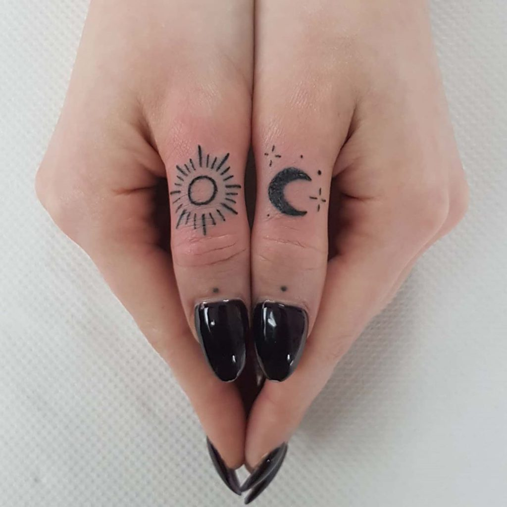 Sun & Moon tattoo on Finger by Belle