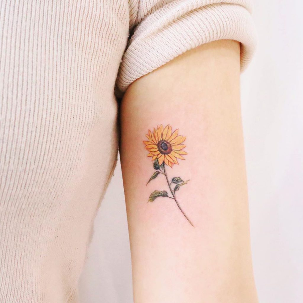 Sunflower tattoo on Arm (inner) by Vanessa