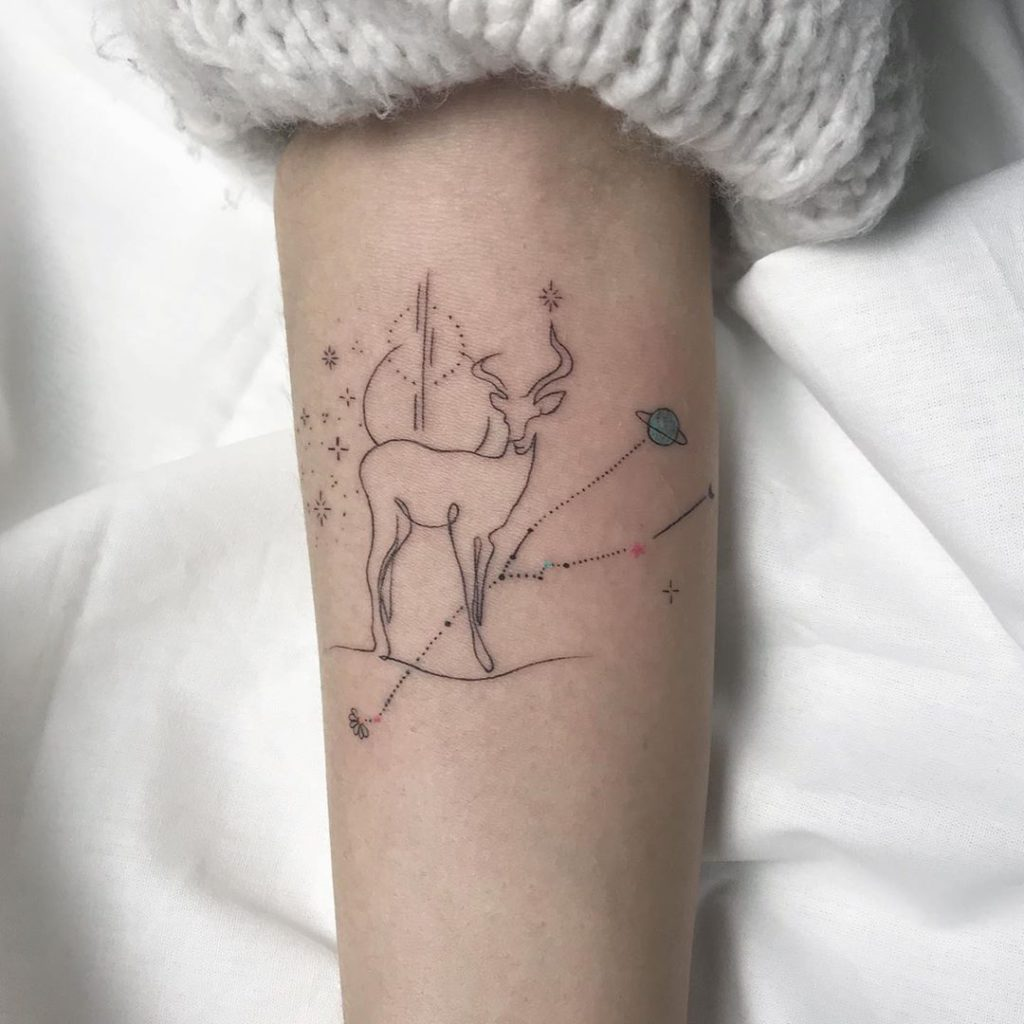 Taurus Constellation Gazelle  tattoo on Forearm (full) - Fine Line style by Gülşah Cindaruk☼Tattoo artist