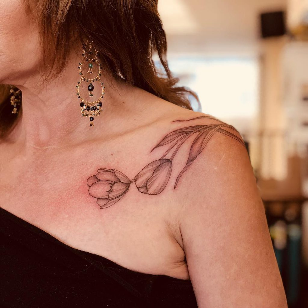 Tulip tattoo on Shoulder by Lianna