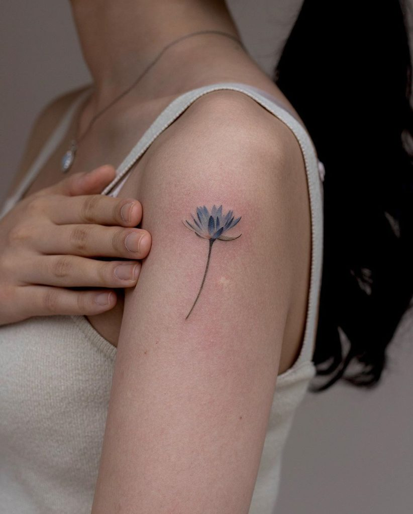 Water lily tattoo on Arm (upper) by como