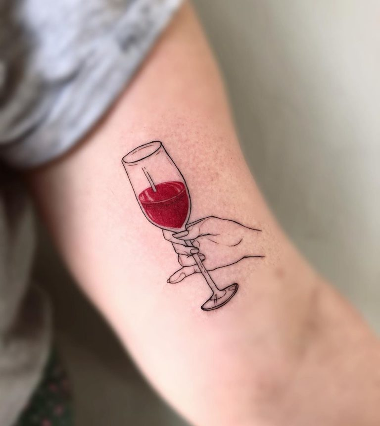 Wine tattoo on Arm (inner) by Ana Maturana