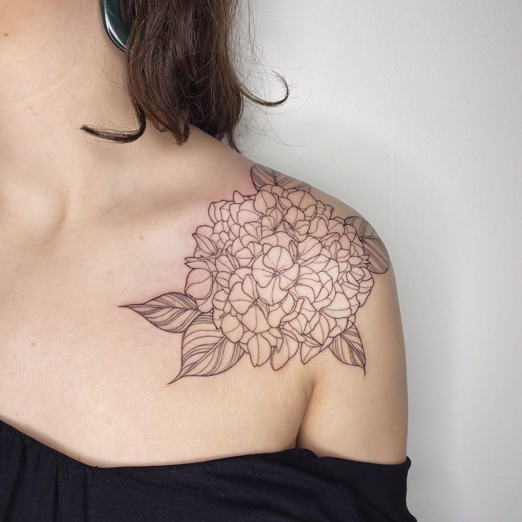 Hydrangea Flower tattoo on Shoulder by MÜK JUNG