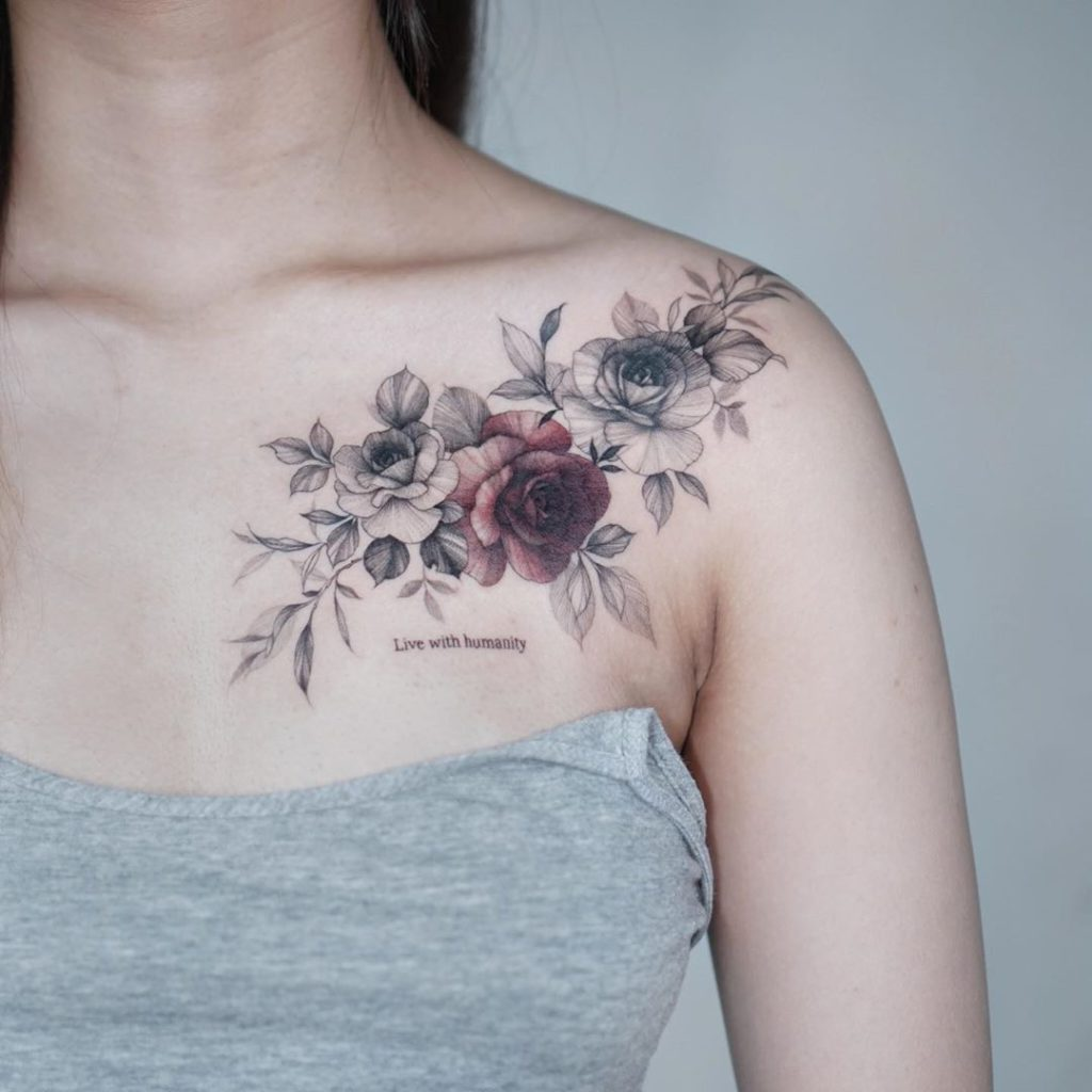 Flower tattoo on Collarbone by Silo