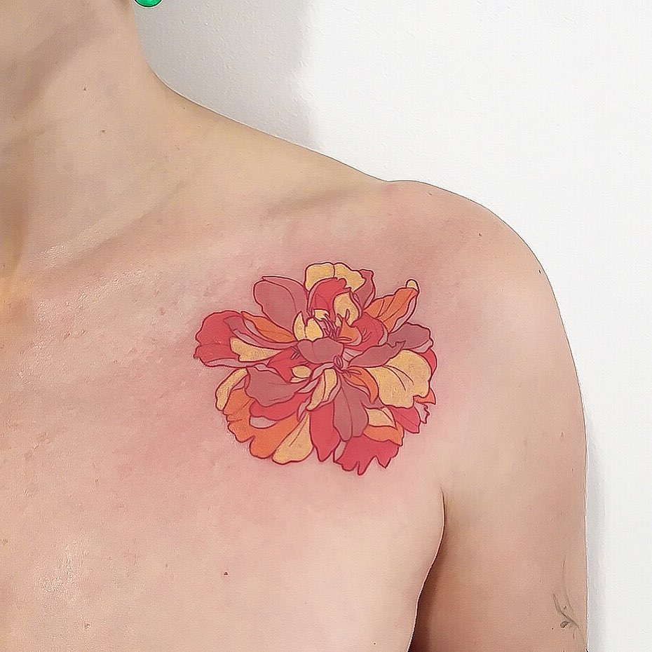 Peony Flower tattoo on Collarbone by MÜK JUNG